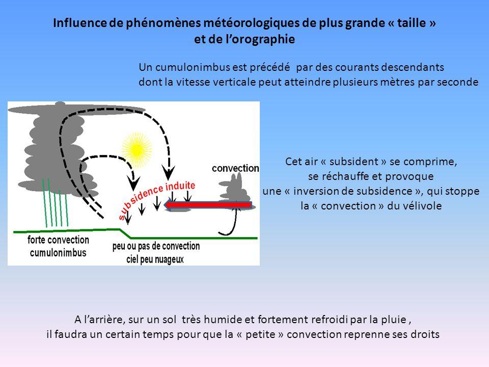 Influence de phénomènes météorologiques de plus grande « taille » et de l'orographie Un cumulonimbus est précédé par des courants descendants dont la vitesse verticale peut atteindre plusieurs mètres par seconde Cet air « subsident » se comprime, se réchauffe et provoque une « inversion de subsidence », qui stoppe la « convection » du vélivole A l'arrière, sur un sol très humide et fortement refroidi par la pluie, il faudra un certain temps pour que la « petite » convection reprenne ses droits