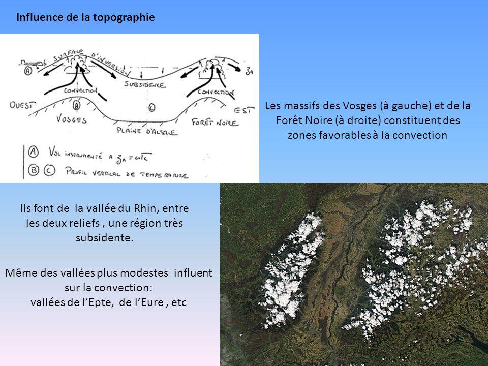 Les massifs des Vosges (à gauche) et de la Forêt Noire (à droite) constituent des zones favorables à la convection Ils font de la vallée du Rhin, entre les deux reliefs, une région très subsidente.