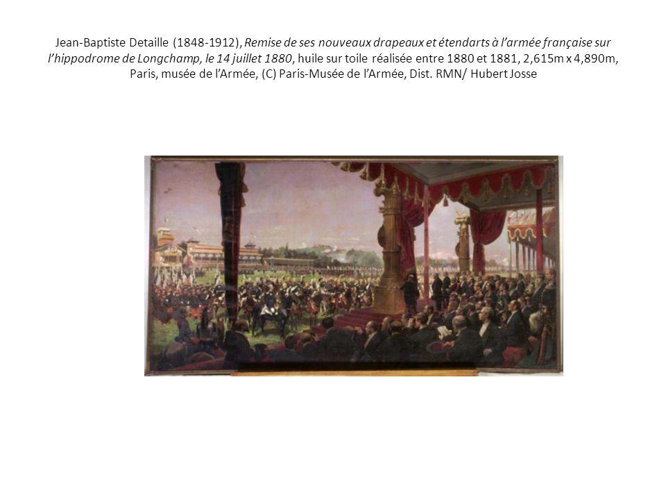 Jean-Baptiste Detaille (1848-1912), Remise de ses nouveaux drapeaux et étendarts à l'armée française sur l'hippodrome de Longchamp, le 14 juillet 1880
