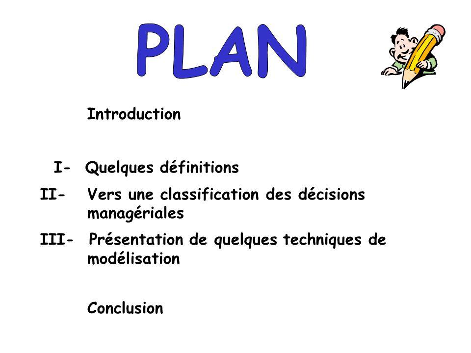 Introduction I- Quelques définitions II- Vers une classification des décisions managériales III- Présentation de quelques techniques de modélisation C