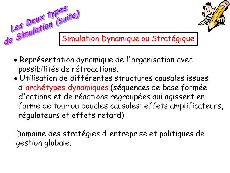  Représentation dynamique de l'organisation avec possibilités de rétroactions.  Utilisation de différentes structures causales issues d'archétypes d