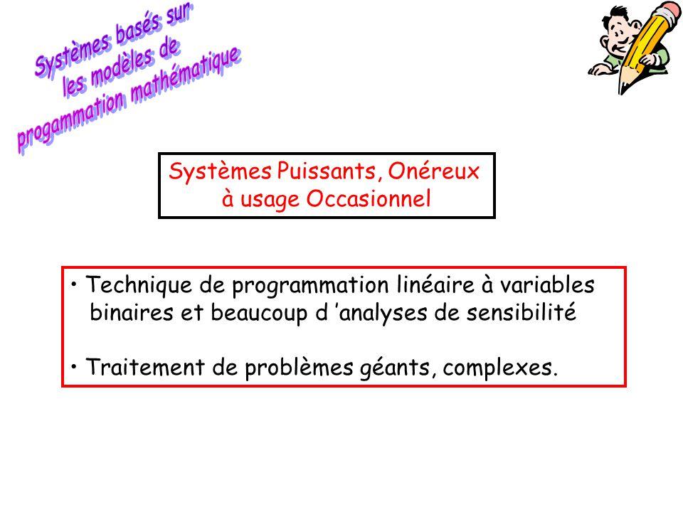• Technique de programmation linéaire à variables binaires et beaucoup d 'analyses de sensibilité • Traitement de problèmes géants, complexes. Système