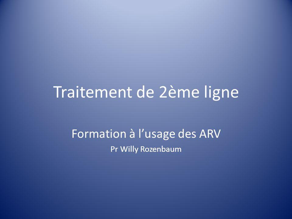 Traitement de 2ème ligne Formation à l'usage des ARV Pr Willy Rozenbaum