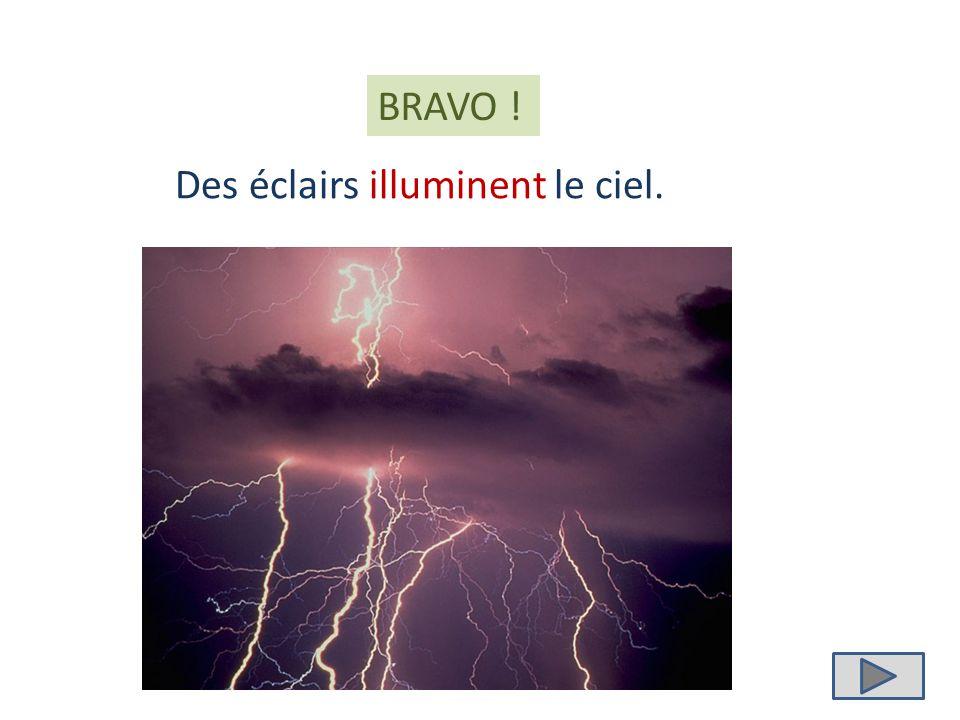 illuminent illumine illumines Des éclairs ………………… le ciel.