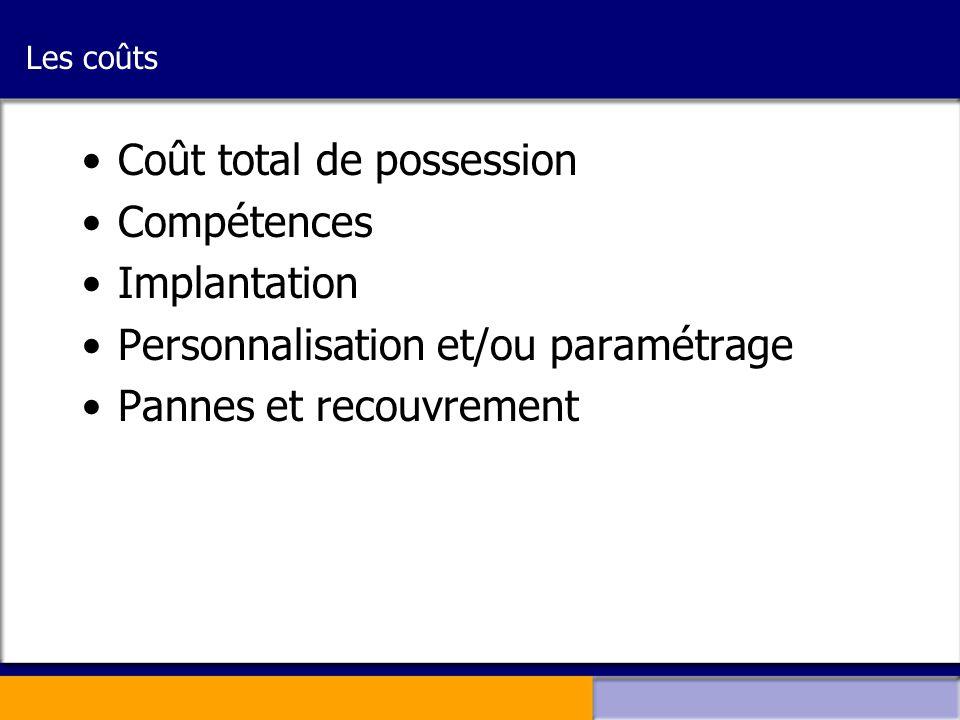 Les coûts •Coût total de possession •Compétences •Implantation •Personnalisation et/ou paramétrage •Pannes et recouvrement