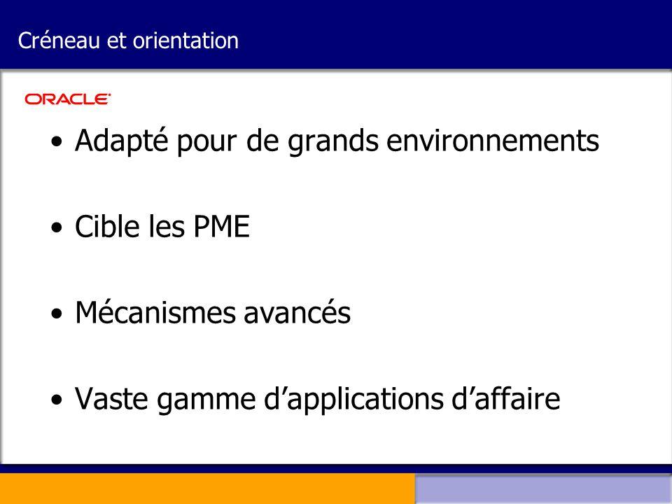 Créneau et orientation •Adapté pour de grands environnements •Cible les PME •Mécanismes avancés •Vaste gamme d'applications d'affaire
