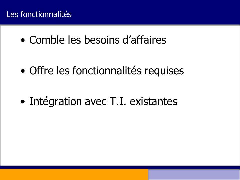 Les fonctionnalités •Comble les besoins d'affaires •Offre les fonctionnalités requises •Intégration avec T.I. existantes