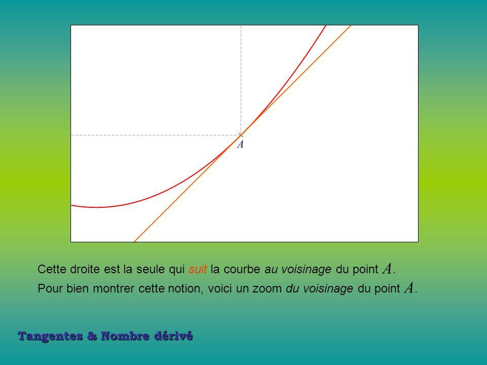 Tangentes & Nombre dérivé Cette droite est la seule qui suit la courbe au voisinage du point A.A. Pour bien montrer cette notion, voici un zoom du voi
