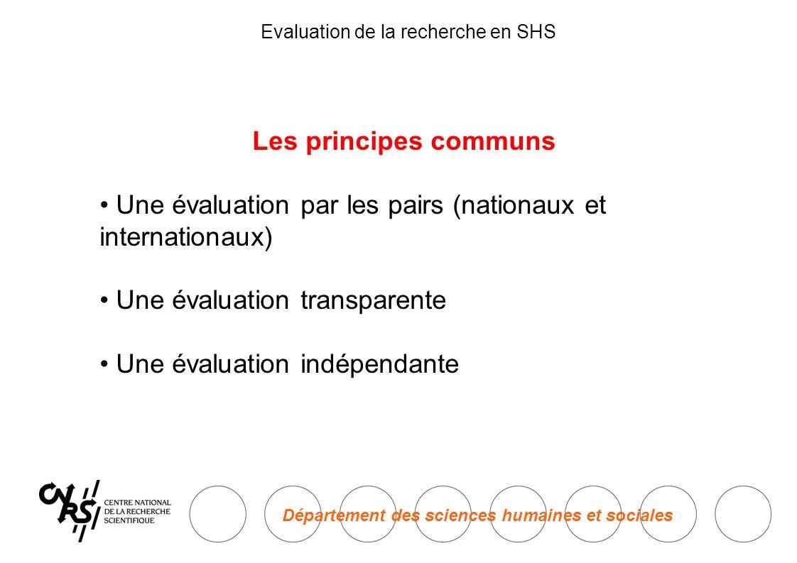 Département des sciences humaines et sociales Evaluation de la recherche en SHS Les principes communs • Une évaluation par les pairs (nationaux et internationaux) • Une évaluation transparente • Une évaluation indépendante
