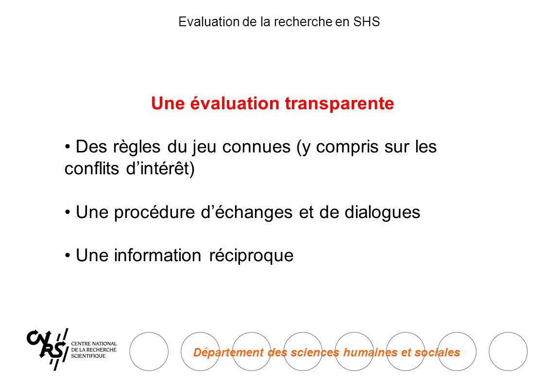 Département des sciences humaines et sociales Evaluation de la recherche en SHS Une évaluation transparente • Des règles du jeu connues (y compris sur les conflits d'intérêt) • Une procédure d'échanges et de dialogues • Une information réciproque