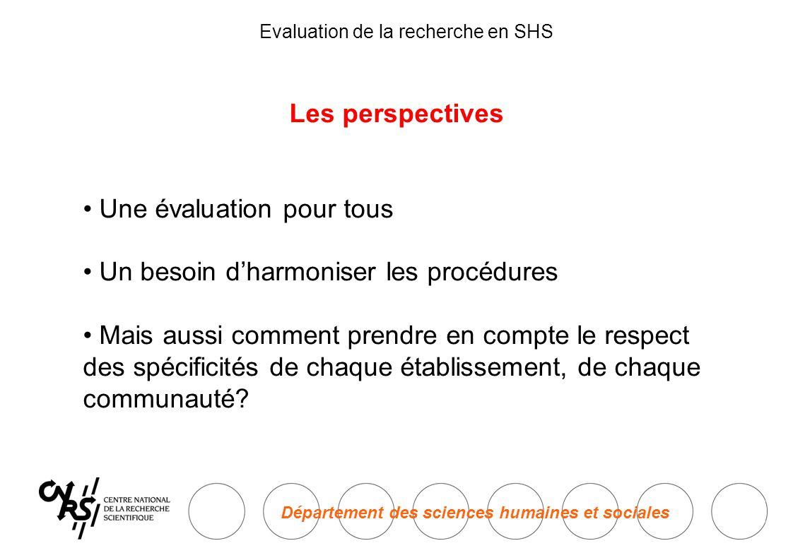 Département des sciences humaines et sociales Evaluation de la recherche en SHS Les perspectives • Une évaluation pour tous • Un besoin d'harmoniser les procédures • Mais aussi comment prendre en compte le respect des spécificités de chaque établissement, de chaque communauté