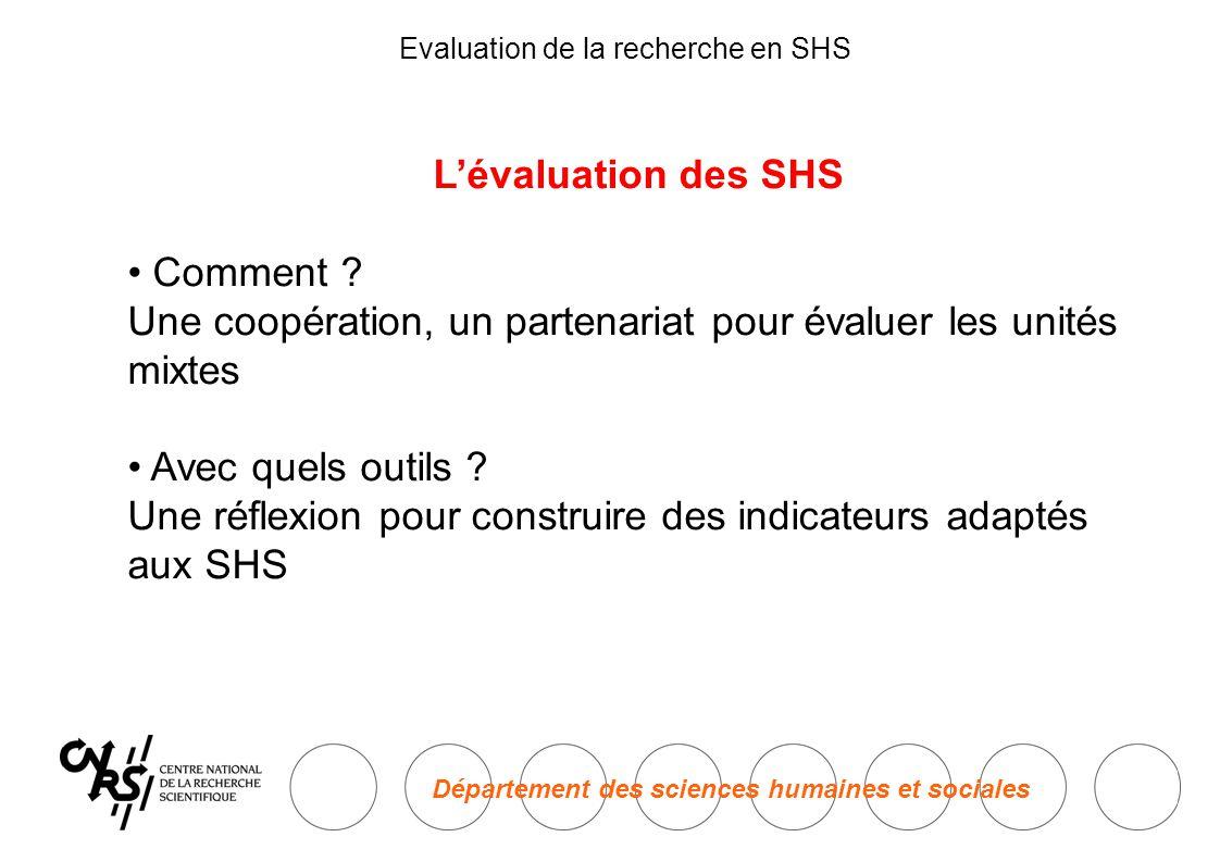Département des sciences humaines et sociales Evaluation de la recherche en SHS L'évaluation des SHS • Comment .