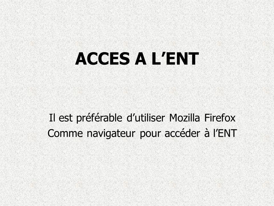 ACCES A L'ENT Il est préférable d'utiliser Mozilla Firefox Comme navigateur pour accéder à l'ENT