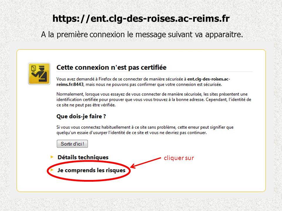 https://ent.clg-des-roises.ac-reims.fr A la première connexion le message suivant va apparaitre.