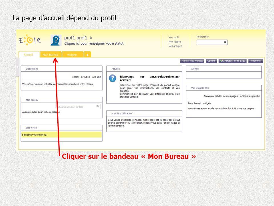La page d'accueil dépend du profil Cliquer sur le bandeau « Mon Bureau »