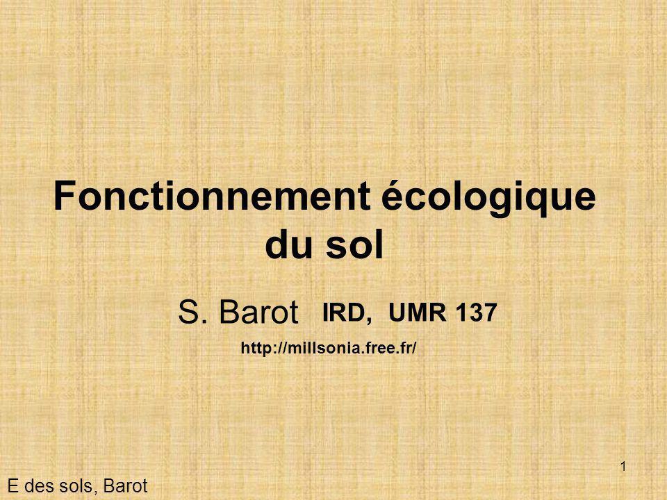 1 Fonctionnement écologique du sol E des sols, Barot IRD, UMR 137 S. Barot http://millsonia.free.fr/