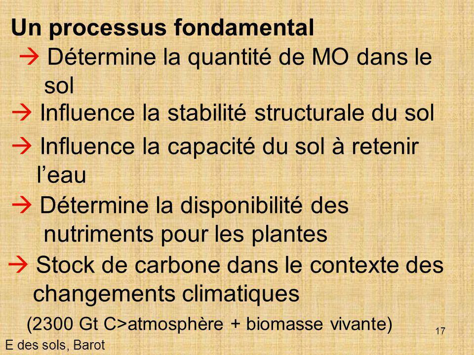 17  Détermine la quantité de MO dans le sol E des sols, Barot  Influence la stabilité structurale du sol Un processus fondamental  Détermine la dis