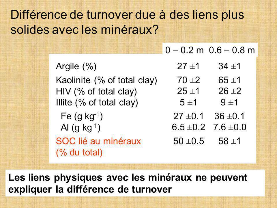 32 Différence de turnover due à des liens plus solides avec les minéraux? Argile (%)27 ±134 ±1 Kaolinite (% of total clay) HIV (% of total clay) Illit