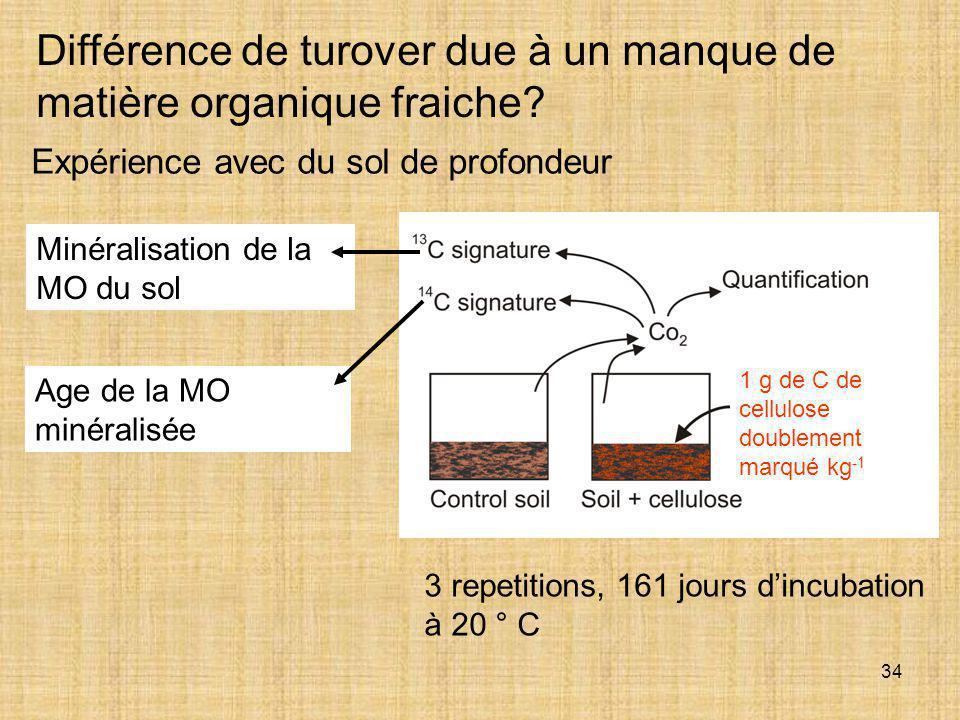 34 Expérience avec du sol de profondeur Différence de turover due à un manque de matière organique fraiche? 3 repetitions, 161 jours d'incubation à 20