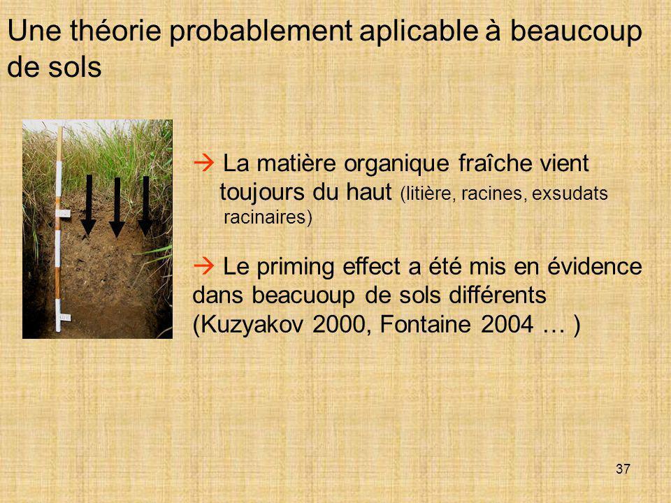 37 Une théorie probablement aplicable à beaucoup de sols  Le priming effect a été mis en évidence dans beacuoup de sols différents (Kuzyakov 2000, Fo