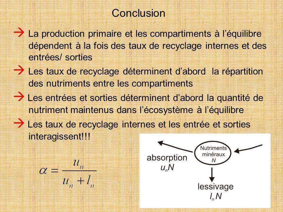 53 Conclusion  La production primaire et les compartiments à l'équilibre dépendent à la fois des taux de recyclage internes et des entrées/ sorties 