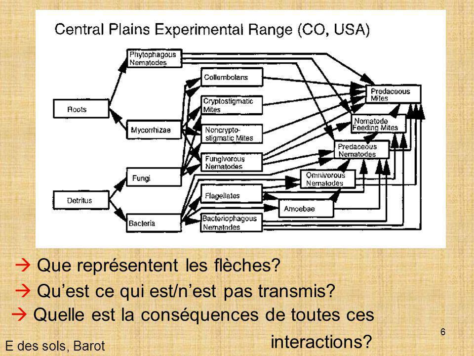 17  Détermine la quantité de MO dans le sol E des sols, Barot  Influence la stabilité structurale du sol Un processus fondamental  Détermine la disponibilité des nutriments pour les plantes  Stock de carbone dans le contexte des changements climatiques (2300 Gt C>atmosphère + biomasse vivante)  Influence la capacité du sol à retenir l'eau