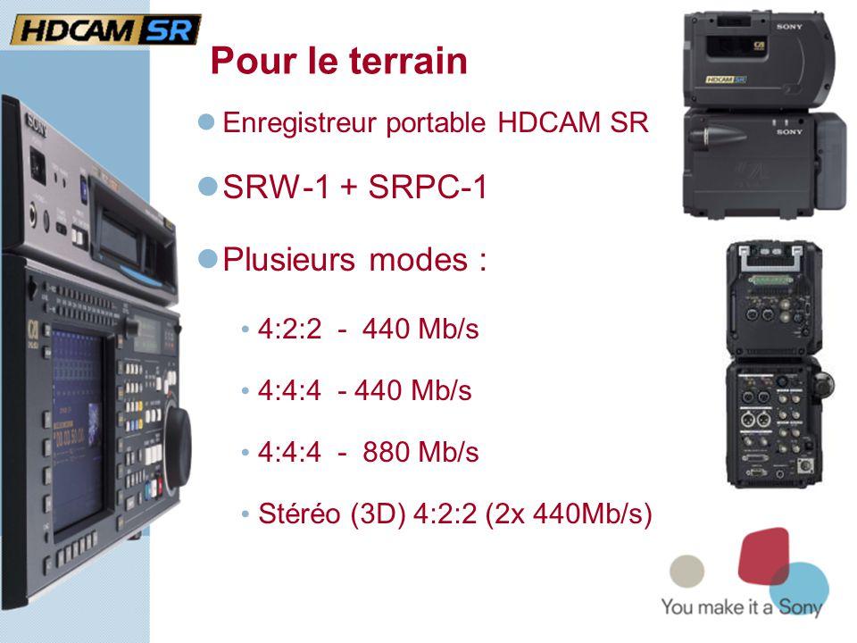 Pour le terrain  Enregistreur portable HDCAM SR  SRW-1 + SRPC-1  Plusieurs modes : • 4:2:2 - 440 Mb/s • 4:4:4 - 440 Mb/s • 4:4:4 - 880 Mb/s • Stéréo (3D) 4:2:2 (2x 440Mb/s)