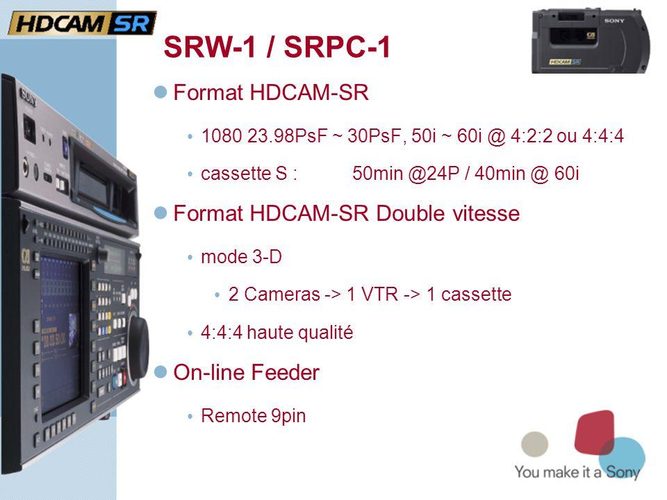 SRW-1 / SRPC-1  Format HDCAM-SR • 1080 23.98PsF ~ 30PsF, 50i ~ 60i @ 4:2:2 ou 4:4:4 • cassette S : 50min @24P / 40min @ 60i  Format HDCAM-SR Double vitesse • mode 3-D • 2 Cameras -> 1 VTR -> 1 cassette • 4:4:4 haute qualité  On-line Feeder • Remote 9pin