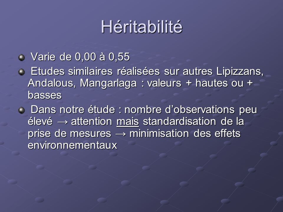 Héritabilité Varie de 0,00 à 0,55 Varie de 0,00 à 0,55 Etudes similaires réalisées sur autres Lipizzans, Andalous, Mangarlaga : valeurs + hautes ou +