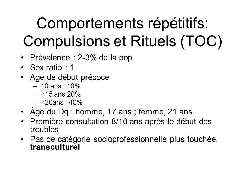 Comportements répétitifs: Compulsions et Rituels (TOC) •Prévalence : 2-3% de la pop •Sex-ratio : 1 •Age de début précoce –10 ans : 10% –<15 ans 20% –<