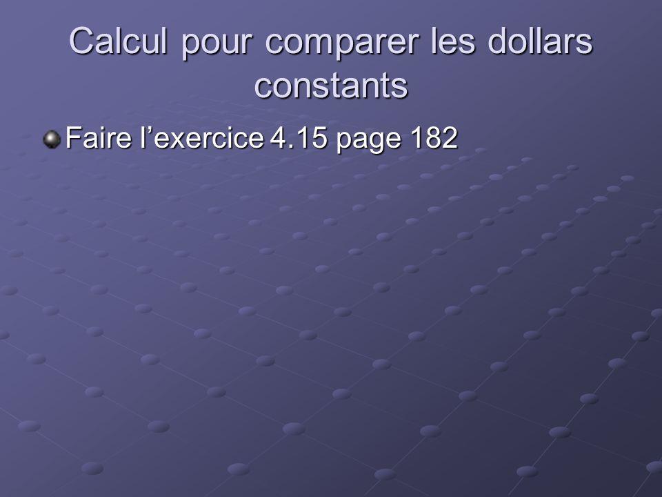 Calcul pour comparer les dollars constants Faire l'exercice 4.15 page 182