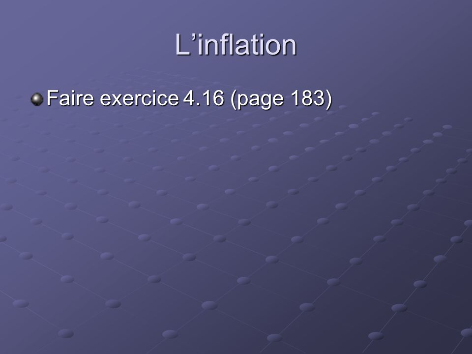 L'inflation Faire exercice 4.16 (page 183)