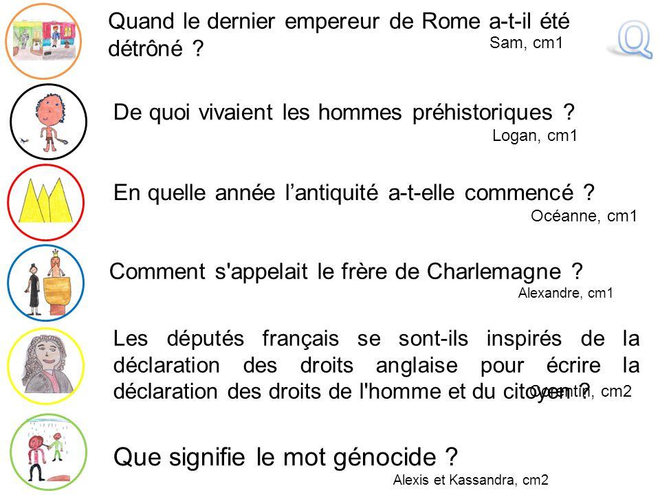 Corentin B., cm2 Qui baptise Clovis .Mélia, cm1 Que votent les députés le 26 août 1789 .