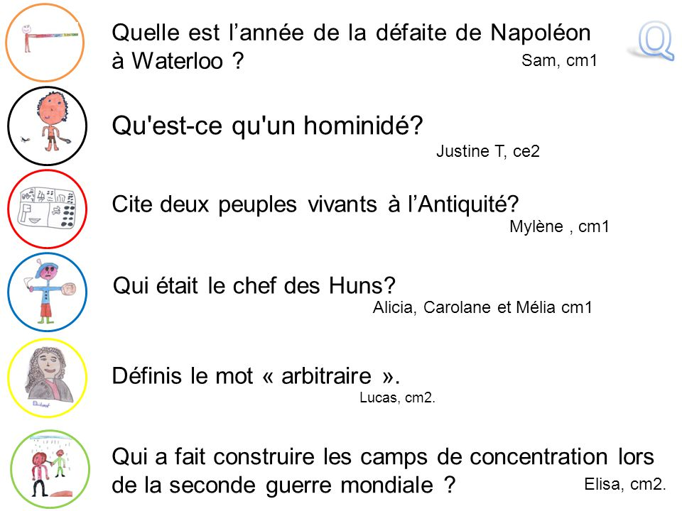 Qui était le chef des Huns? Qui a fait construire les camps de concentration lors de la seconde guerre mondiale ? Définis le mot « arbitraire ». Lucas