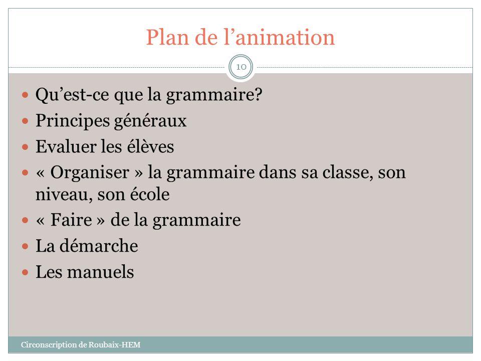 Plan de l'animation  Qu'est-ce que la grammaire?  Principes généraux  Evaluer les élèves  « Organiser » la grammaire dans sa classe, son niveau, s