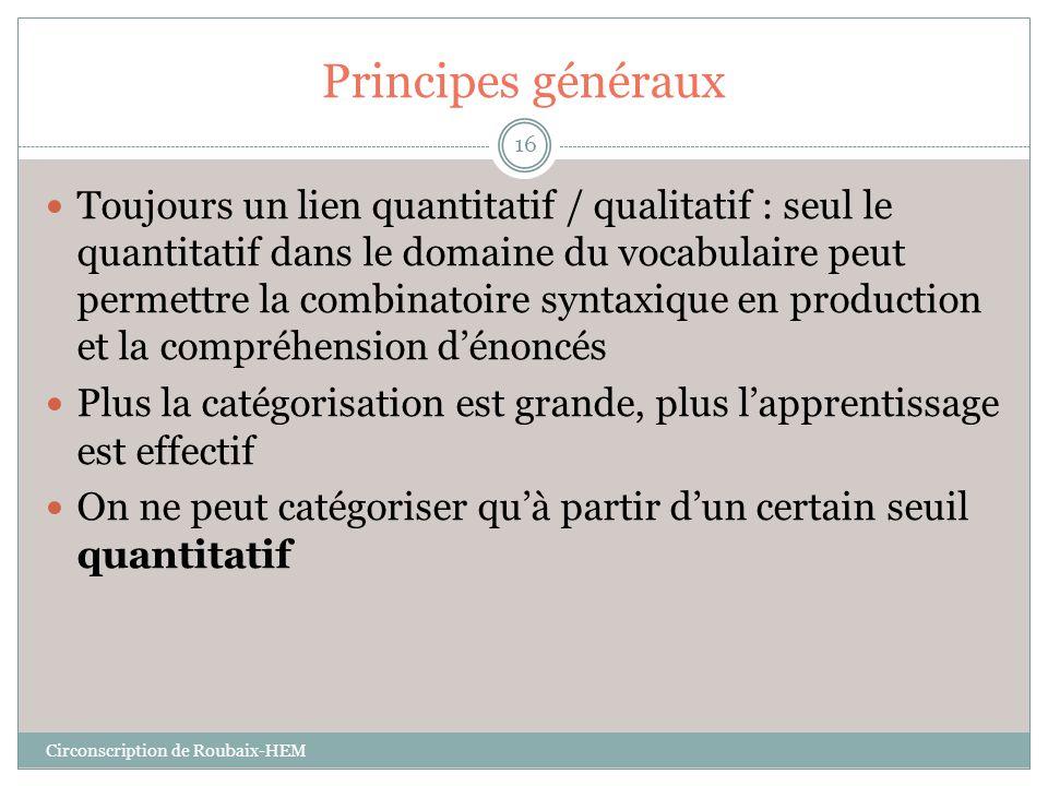 Principes généraux  Toujours un lien quantitatif / qualitatif : seul le quantitatif dans le domaine du vocabulaire peut permettre la combinatoire syn