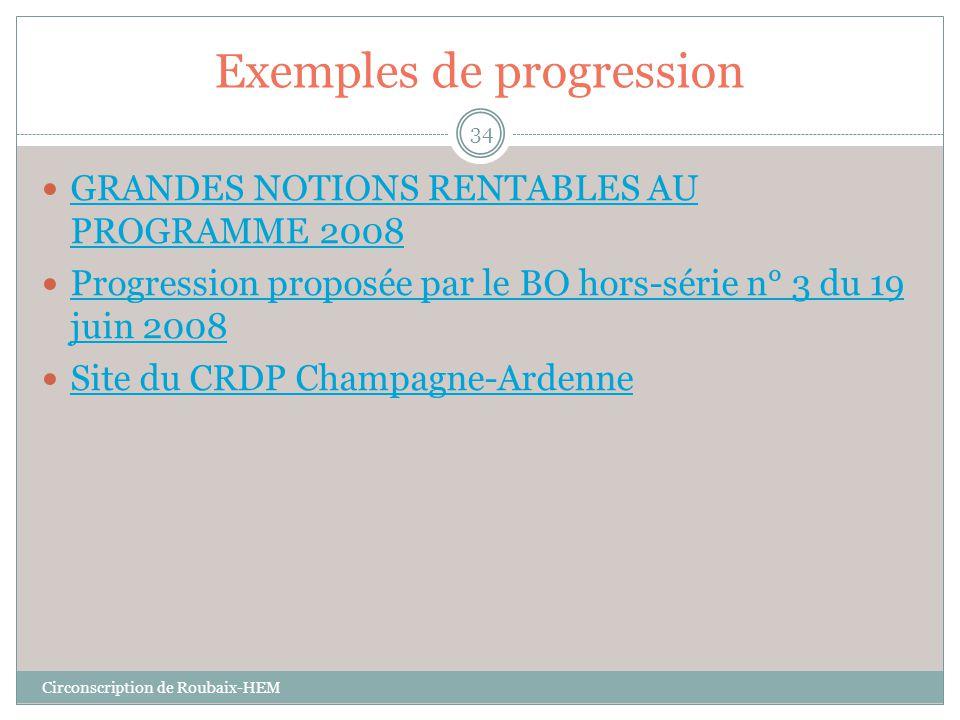 Exemples de progression  GRANDES NOTIONS RENTABLES AU PROGRAMME 2008 GRANDES NOTIONS RENTABLES AU PROGRAMME 2008  Progression proposée par le BO hor