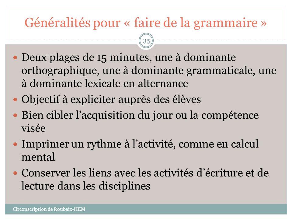 Généralités pour « faire de la grammaire »  Deux plages de 15 minutes, une à dominante orthographique, une à dominante grammaticale, une à dominante