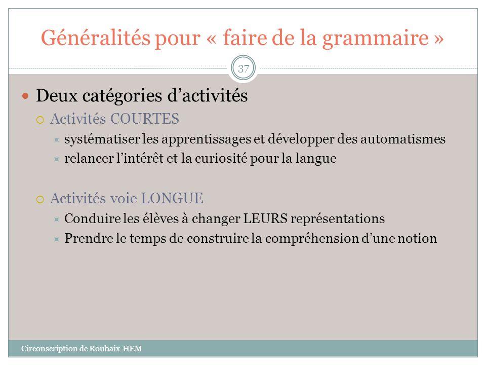 Généralités pour « faire de la grammaire »  Deux catégories d'activités  Activités COURTES  systématiser les apprentissages et développer des autom