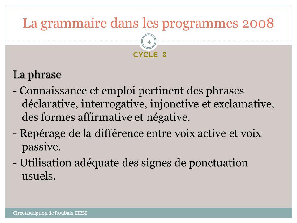 La grammaire dans les programmes 2008 La phrase - Connaissance et emploi pertinent des phrases déclarative, interrogative, injonctive et exclamative,