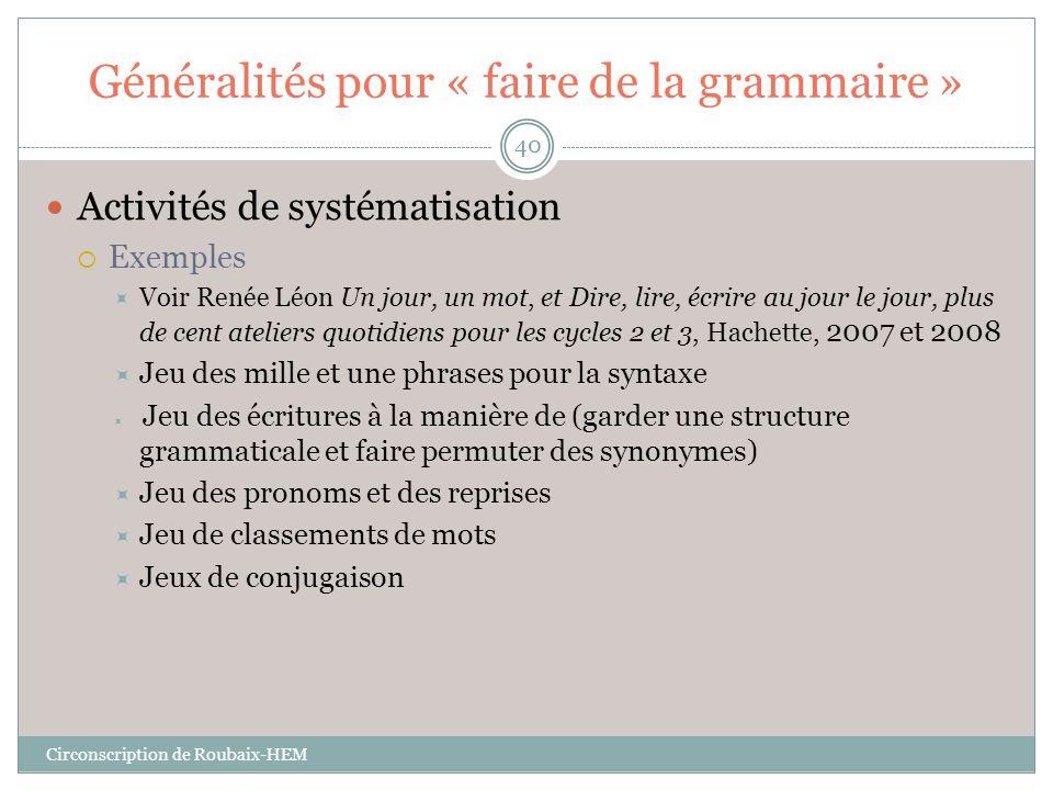 Généralités pour « faire de la grammaire »  Activités de systématisation  Exemples  Voir Renée Léon Un jour, un mot, et Dire, lire, écrire au jour