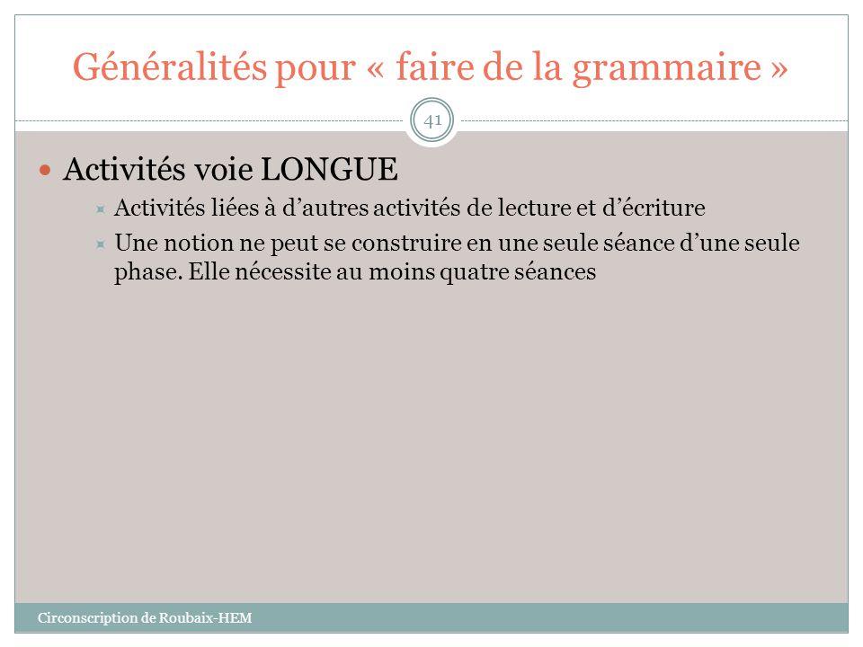 Généralités pour « faire de la grammaire »  Activités voie LONGUE  Activités liées à d'autres activités de lecture et d'écriture  Une notion ne peu