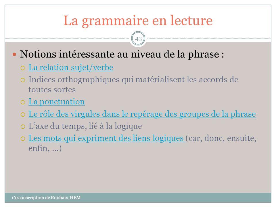 La grammaire en lecture  Notions intéressante au niveau de la phrase :  La relation sujet/verbe La relation sujet/verbe  Indices orthographiques qu