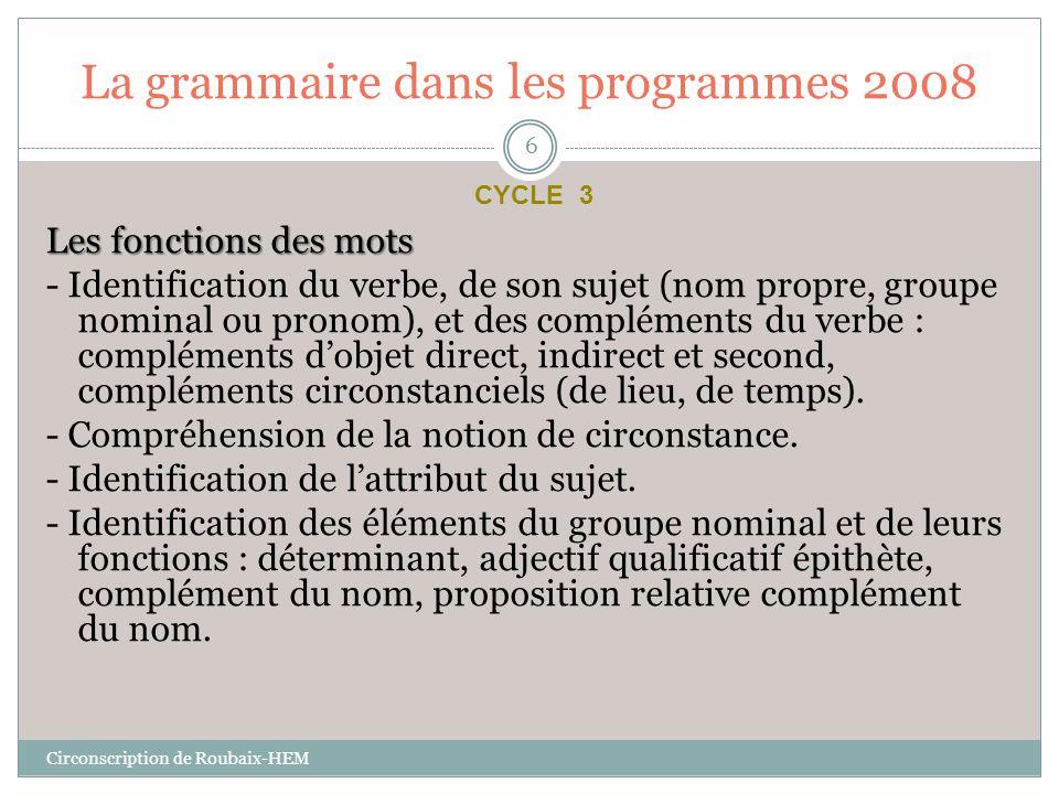 La grammaire dans les programmes 2008 Les fonctions des mots - Identification du verbe, de son sujet (nom propre, groupe nominal ou pronom), et des co