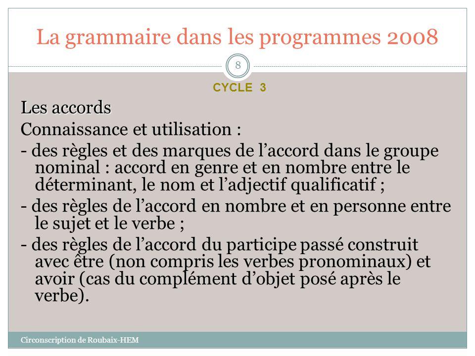 La grammaire dans les programmes 2008 Les accords Connaissance et utilisation : - des règles et des marques de l'accord dans le groupe nominal : accor