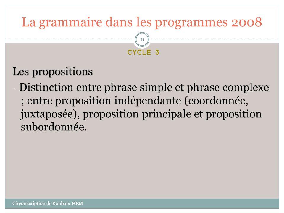 La grammaire dans les programmes 2008 Les propositions - Distinction entre phrase simple et phrase complexe ; entre proposition indépendante (coordonn
