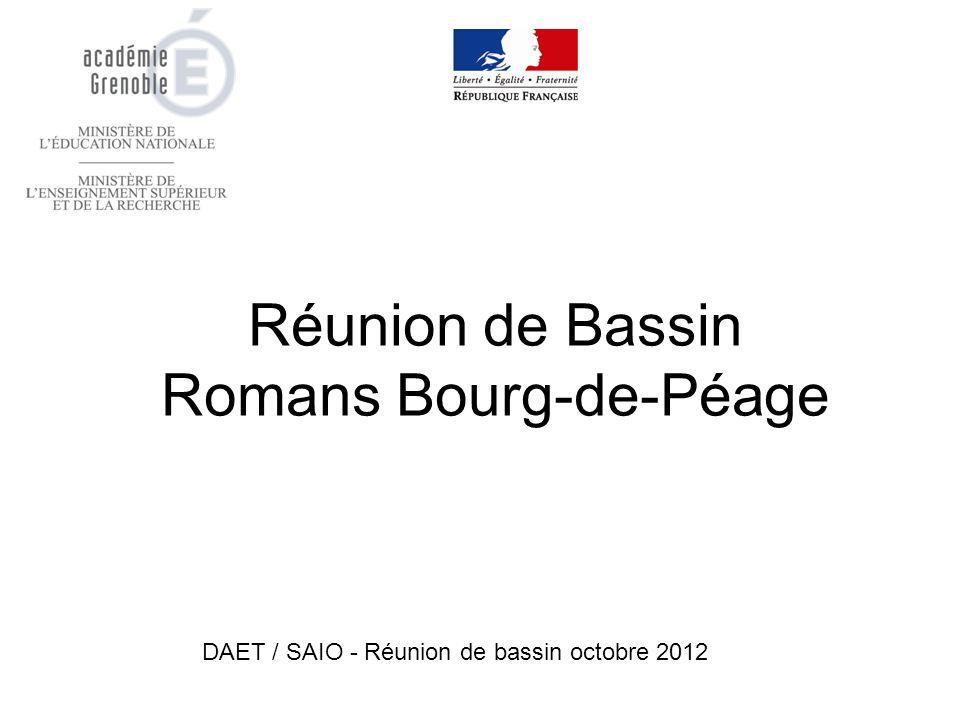 Réunion de Bassin Romans Bourg-de-Péage DAET / SAIO - Réunion de bassin octobre 2012