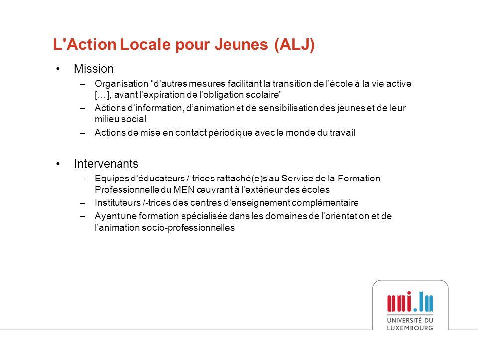 •Educateurs gradués de l'ALJ –Deux types de décrocheurs au Luxembourg se différenciant au niveau des compétences, de la personnalité et du parcours de vie –Situation familiale et événements de vie Résultats de l'enquête