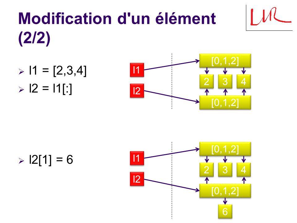 Egalité et identité (1/4)  l1 = [2,3,4]  l2 = l1  l1==l2 True  l1 is l2 True l1 [0,1,2] l2 3 3 2 2 4 4