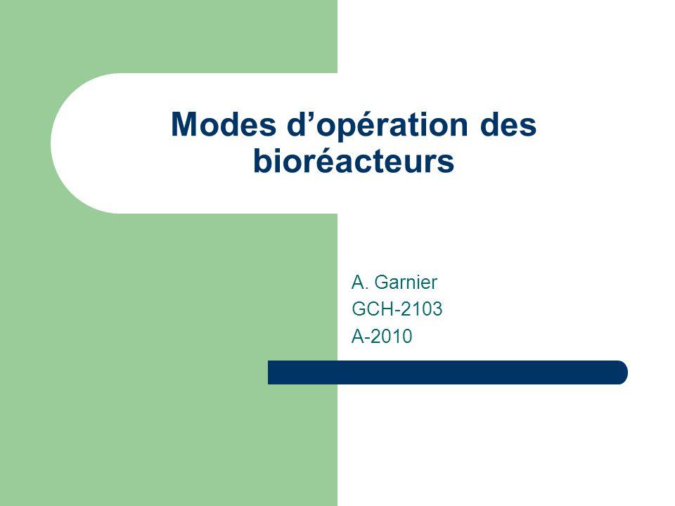 Modes d'opération des bioréacteurs A. Garnier GCH-2103 A-2010